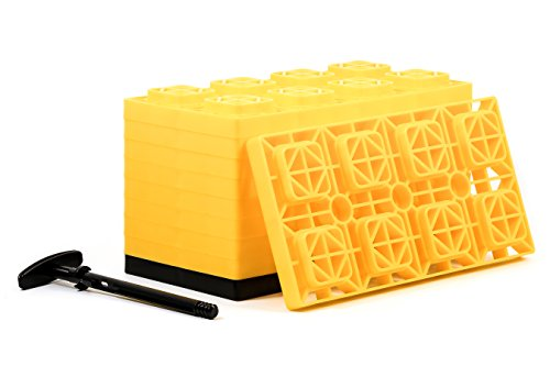 Camco Direct 4x2 Leveling Block For Dual Tires, Interlocking Design Allows Stacking To Desired Height, Includes Secure T-Handle Carrying Organized whole, Yellow (Pack of 10)