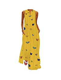 Clearance! Forthery Maxi Dresses for Women,Womens Crew Neck Sleeveless Summer Floral Maxi Dress with Pocket