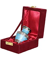 THE ASCENT MEMORIAL Azure Blue Small Urns for Human Ashes - Small Keepsake Box with Velvet Carry Bag and Funnel - Mini Urns Small for Human Ashes (Small S1, Azure Blue)