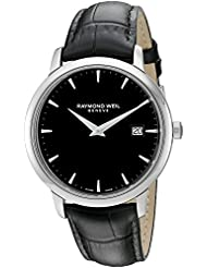 Raymond Weil Mens Toccata Swiss Quartz Stainless Steel and Leather Watch, Color:Black (Model: 5488-STC-20001)