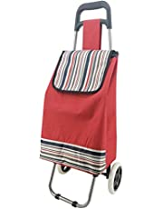 Shopping Trolley Cart Bag Foldable Wheels Carts Bags, Trolley for Shopping (RED)