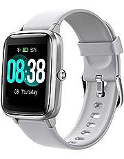Smartklocka, Yonmig Aktivitetsspårare, IP68-vattentät för män och kvinnor, färgglad helpekskärm, fitnessklocka, bluetooth, smartklocka med puls/sömnmonitor och stegräknare, SMS-avisering för iOS Android