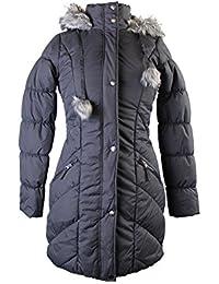 Women's Faux Fur Trim Hooded Puffer Coat, Medium, Gray
