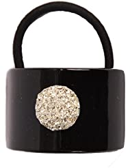 Caravan Hand Decorated Black Pony Tail Tube with Mountain Decoration of Swarovski Crystal Stones.65 Ounce