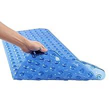 """Unique Home Anti-Bacterial Anti-Slip-Resistant Bath Mat, 16"""" W x 39"""" L, Extra Long, Blue"""