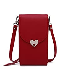 GESU Fashion PU Leather Small Crossbody Bag Cell Phone Purse Wallet Cellphone Pouch with Shoulder Strap for Women Girls