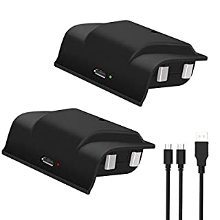 Battery Pack Rechargeable for Xbox One, Y Team 2x1200mAH Xbox One Controller Battery with 4FT 2 in 1 Micro USB Cable, Perfect Play and Charge Kit for Xbox One/One S/One X/Elite Wireless Controller