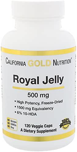California Gold Nutrition Royal Jelly 500 mg 120 Veggie Caps, Milk-Free, Egg-Free, Fish Free, Gluten-Free, Peanut Free, Treenut Free, Shellfish Free, Salt-Free, Soy-Free, Sugar-Free, Wheat-Free, CGN