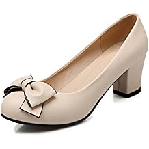 BalaMasa Ladies Slip-On Round-Toe Kitten-Heels Upper Leather Pumps-Shoes