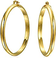 Simple Round Half Tube Large Hoop Earrings For Women For Teen Polished 18K Gold Plated Brass 2.5 Inch Dia