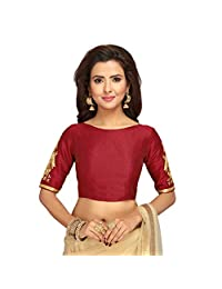 STUDIO Shringaar Women's Poly RAW Silk Saree Blouse with Embroidered Sleeves