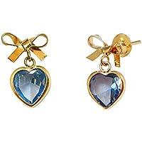 Brinco em Ouro 18k Lacinho Com Zircônia Coração Azul