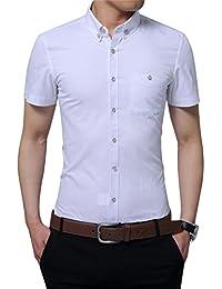 Mens 100% Cotton Casual Slim Fit Short Sleeve Button Down Printed Plaid Dress Shirts
