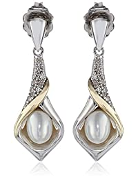 Sterling Silver, 14k Yellow Gold and Diamond Accent Calla Lilly Freshwater Cultured Pearl Earrings