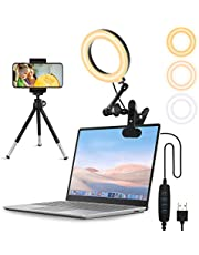 """Lusweimi Ring Light for Computer Laptop Video Conference Lighting Kit with Clip&Overhead Tripod, 6"""" Webcam Light with Magic Arm&Phone Holder for iPhone/Zoom Meeting/Desktop/Video Recording/YouTube"""