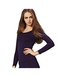 Liang Rou Women's Basic Round Neck Ultra-Thin Long Sleeve Shirt
