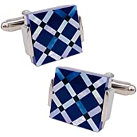 VIILOCK Mother of Pearl Mix Colorful Cufflinks for Men Cuff Links with Gift Bag