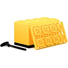 Camco FasTen 4x2 Leveling Block For Dual Tires, Interlocking Design Allows Stacking To Desired Height, Includes Secure T-Handle Carrying System, Yellow (Pack of 10)