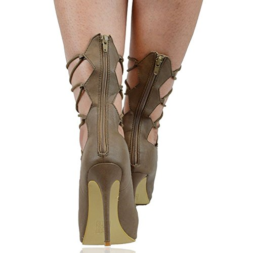 Essex Glam Femmes Lace Up Cuir Synthétique Strappy Veau Sandales Mocca En Cuir Synthétique