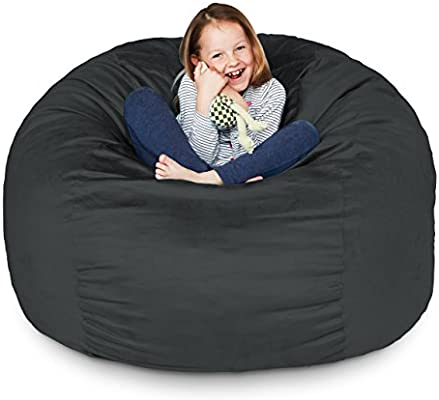 Awe Inspiring Lumaland Luxury 3 Foot Bean Bag Chair With Microsuede Cover Black Machine Washable Big Size Sofa And Giant Lounger Furniture For Kids Teens And Caraccident5 Cool Chair Designs And Ideas Caraccident5Info