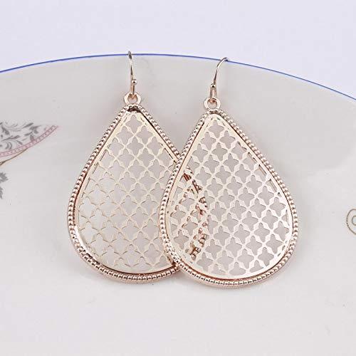 - Gold Teardrop Earrings for Women | Fashion Two Tone Zinc Alloy Water Drop Earrings