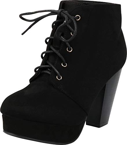 Forever Camille-86 Women's Comfort Stacked Chunky Heel Lace Up Ankle Booties,Black,9