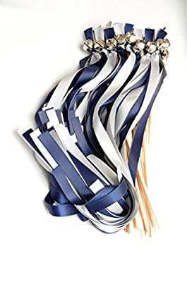 25 True Navy ( Davids Marine) & Silver Ribbon Silver Bell Wands ~ Ribbon Bell Wavers ~ Bachlorette ~ Baby Shower ~ Wedding Ribbon Bell Wands ~ Divinity Braid ~ Send Off Bells