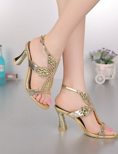 ShangYi Women's amp; Party Dress Champagne Gold champagne Heel Purple Heels Sandals Chunky Casual Evening Leather Shoes qqpHwAxr4d