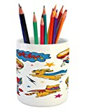 Lunarable Superhero Pencil Pen Holder, Super Kids and Cat Puppy with Power Legendary Comic Strips Nursery Playroom Image, Printed Ceramic Pencil Pen Holder for Desk Office Accessory, Multicolor