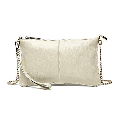 Clutch Wallet,YOUNA Small Leather Crossbody Purse for Women with Chain Shoulder&Wrist Strap Beige