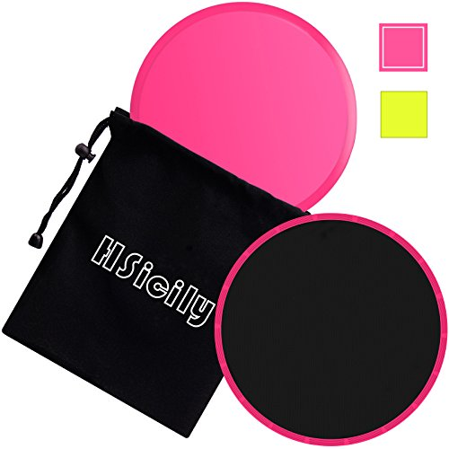 HSicily Exercise Core Gliding Sliders Dual Sided Multi-function Body Strength Slides Disc Perfect for Use on Carpet or Hard Floors, 1 Pair, Pink