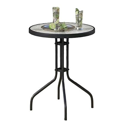 GT Metal Bistro Glass Table Outdoor Garden Side End Table Outside Portable Classic Round Top Furniture & eBook by Easy2Find. by GT