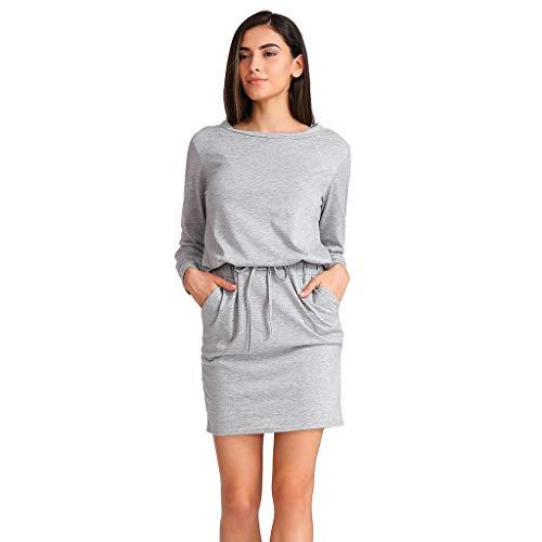 NEEKEY Womens Tops Women Casual Long Sleeve Bodycon Mini Dress Ladies Autumn Tunic Party Dresses(XL,Gray)