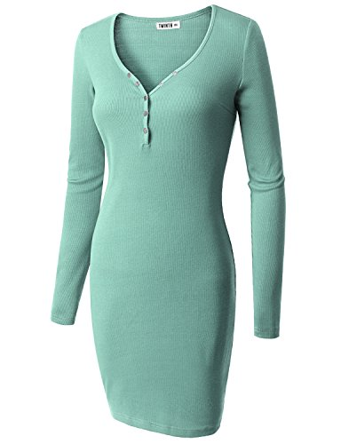 Doublju Womens Long Sleeve Button Down Henley Ribbed Knit Dress DARKMINT 3XL