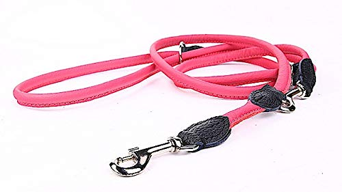Capadi K0804 Round Adjustable Dog Lead, Strong Nylon Covered with Soft Leather, Pink, Width 6 mm, Length 220 cm