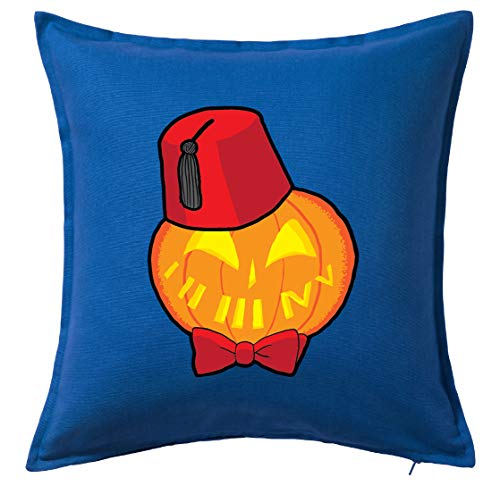 Tenacitee Timey Wimey Pumpkin Blue Throw Pillow Cover -