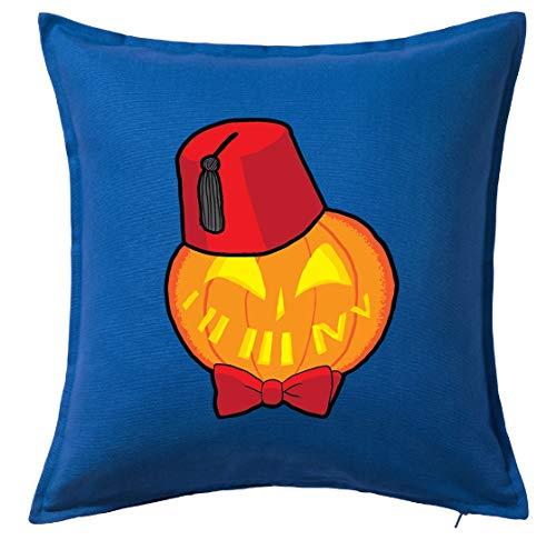 Tenacitee Timey Wimey Pumpkin Blue Throw Pillow -