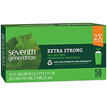 Seventh Generation Extra Strong Tall Kitchen Draw String Trash Bags, 50 Count