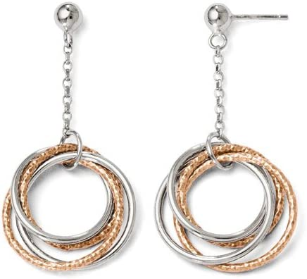 925 Sterling Silver Rose-tone Polished /& Textured Circles Dangle Post Earrings