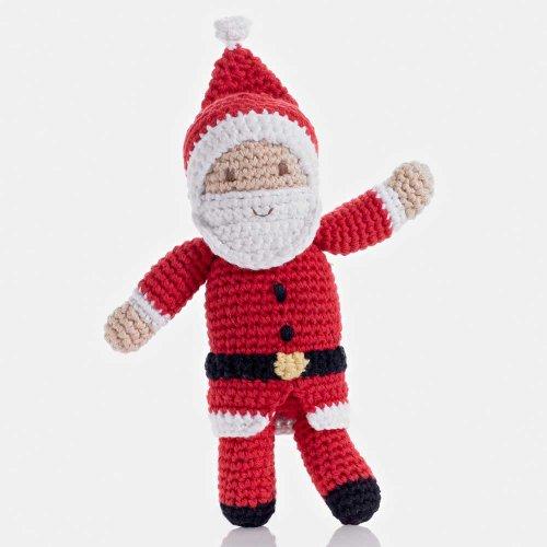 Pebble   Handmade Santa Rattle - Red   Crochet   Fair Trade   Pretend   Imaginative Play   Christmas   Holiday   Machine Washable ()