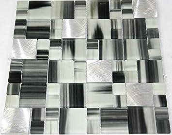 Restposten Glasmosaik Mosaikfliesen Bad Kuche Wc Schwarz Weiss Mix