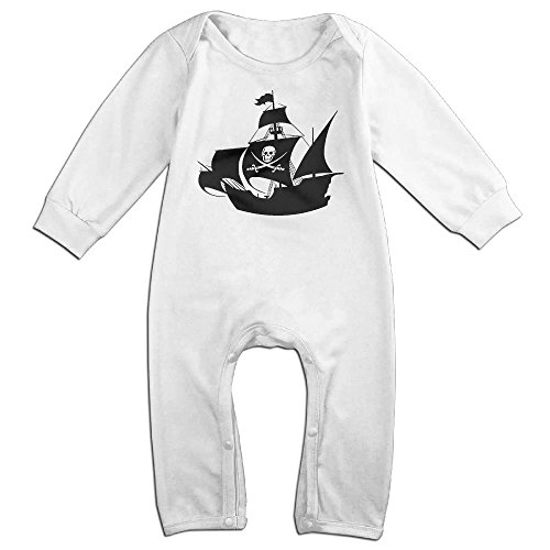 Baby Infant Romper Pirate Ship Wall Art Sticker Long Sleeve Jumpsuit Costume White 24 (Toddler Petite Pirate Costumes)