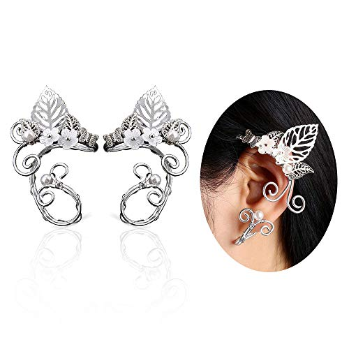 Elf Ear Cuffs, Aifeer 1 Pair Pearl Beads Filigree Fairy Elven Cosplay Fantasy Handcraft Ear Cuffs (Leaf Design)