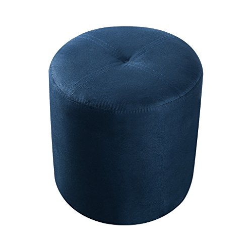 Kings Brand Furniture 3215-BU Josue Round Ottoman Stool, Blue Microfiber