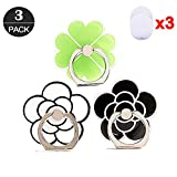 ZOEAST(TM) 3 Pack Phone Ring Grip Black Rose Camellia Green Clover Universal 360° Adjustable Holder Car Desk Hook Stand Stent Mount Kickstand Compatible with iPhone X Plus Samsung iPad (3pcs Flower)