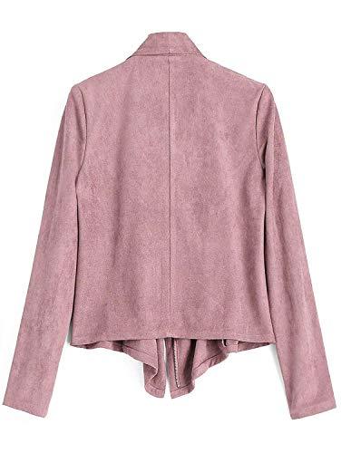 Asimmetrico Pelle Autunno Giubbino Primaverile Zip Pink Libero Finta Lunghe Donna Eleganti Vintage Maniche Tempo Giacche Scamosciata Outerwear Giovane Fashion Cappotto wqgPaWI6n