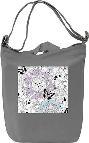 Butterfly in The Flowers Borsa Giornaliera Canvas Canvas Day Bag| 100% Premium Cotton Canvas| DTG Printing|