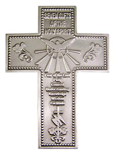 Religious Home Decor Silver-Toned Pewter Seven Gifts of The Holy Spirit Hanging Wall Cross, 5 7/8 inches