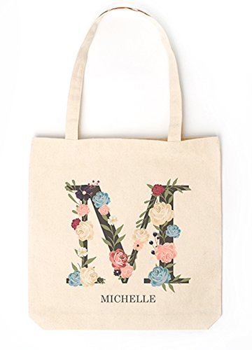 Personalized Monogrammed Tote Bags for Women - Unique Monogrammed Gifts for Women (Letter (Monogrammed Canvas Tote)