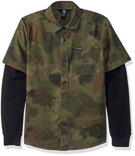 Volcom Boys' Big Thornton Two FER Thermal Long Sleeve Button UP Shirt, Camouflage, Medium